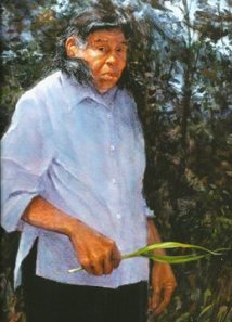 A portrait of Chickasaw Elder Emily Dickerson painted by artist Mike Larsen. Dickerson recently waled on and was the last monolingual speaker of Chickasaw.