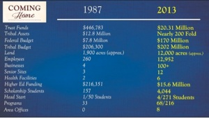 This chart depicts 20 years of economic growth for the Chickasaw Nation. Citation: State of the Chickasaw Nation 2013 https://www.chickasaw.net/Content-Images/Comparative-Statistics.aspx retrieved on 1/7/2013.